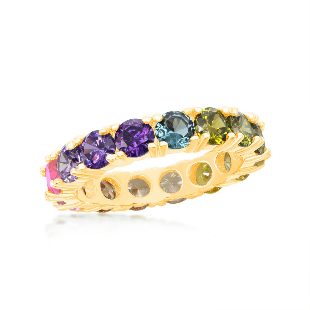Sterling Silver Gold Plated Rainbow CZ Eternity Band Ring