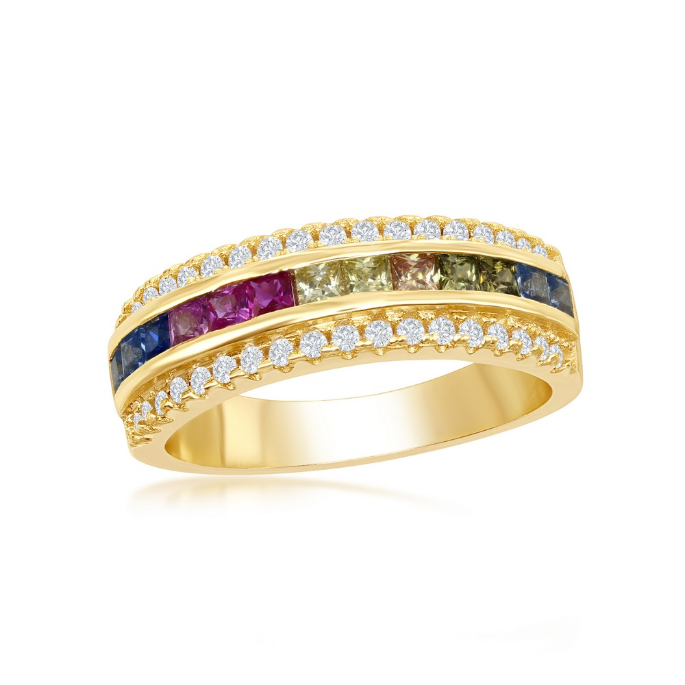 Sterling Silver Gold Plated Half Center Channel Set Rainbow CZ with White CZ Border Ring