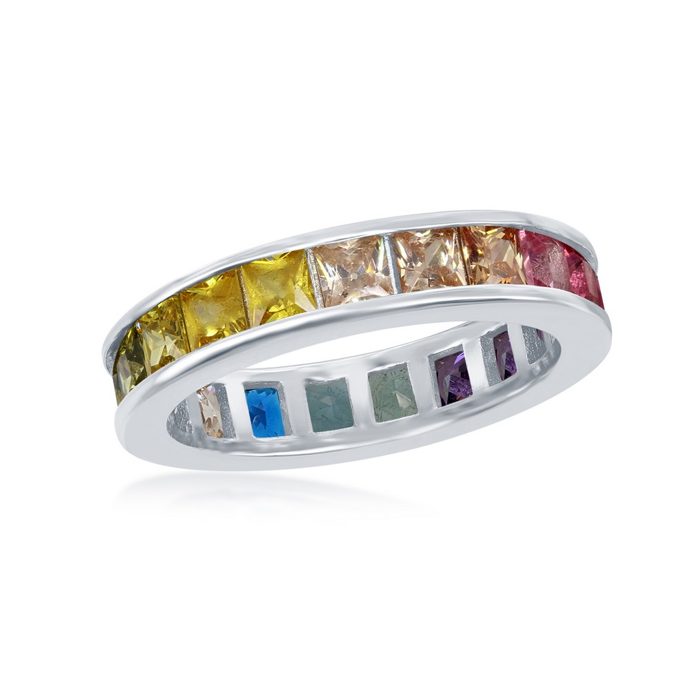 Sterling Silver Channel Set Rainbow CZ Eternity Band Ring