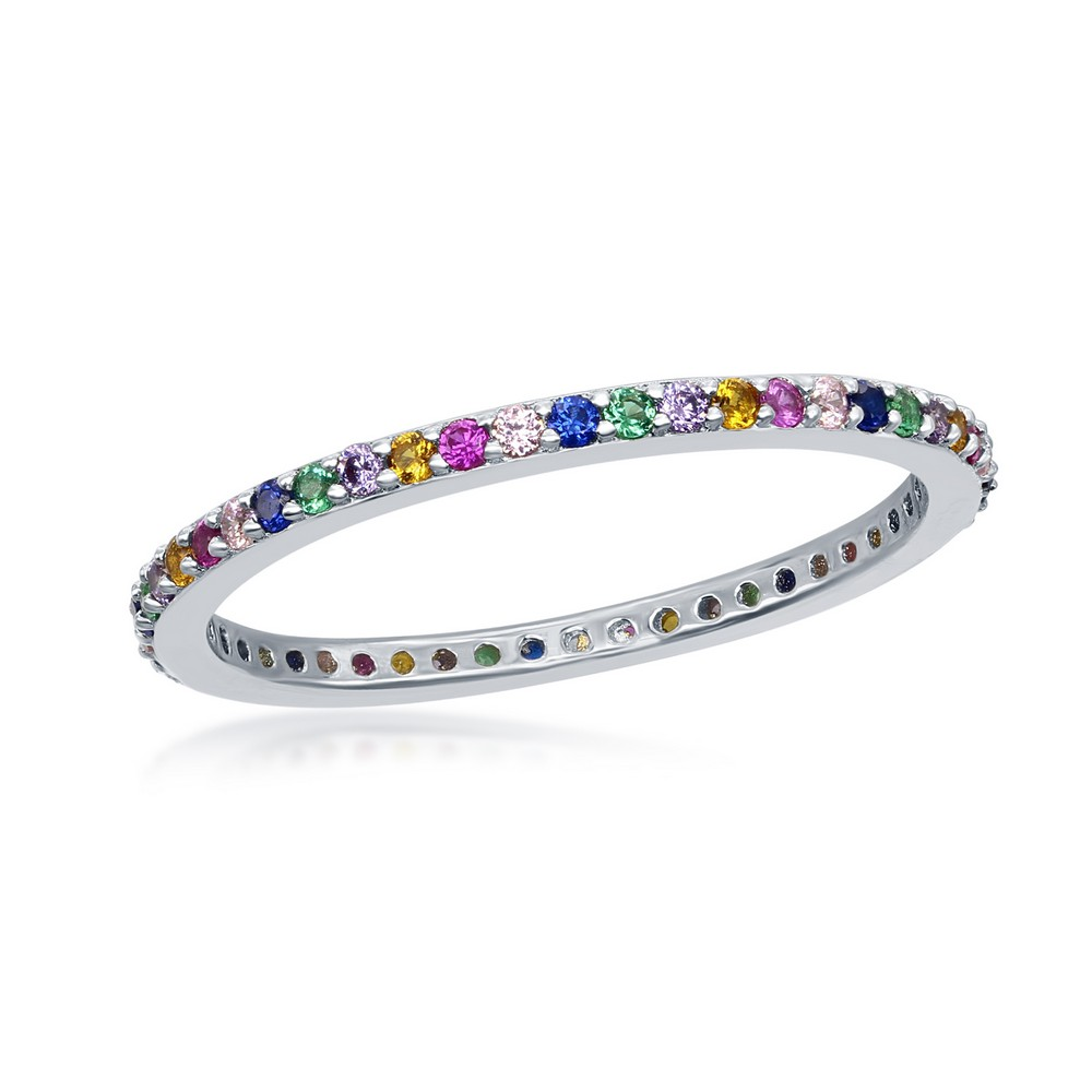 Sterling Silver Rainbow CZ Thin Band Ring