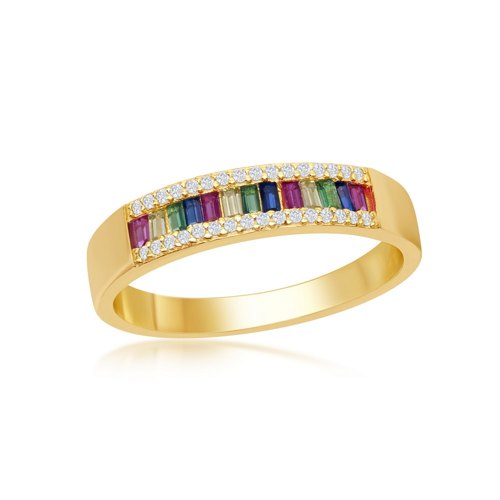Sterling Silver Baguette Rainbow CZ With  White CZ Border Channel-Set Band Ring - Gold Plated