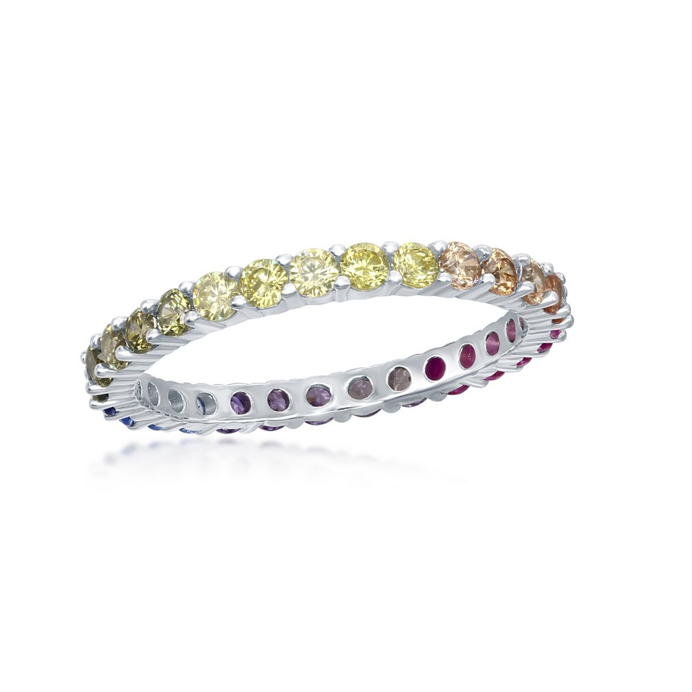 Sterling Silver Rainbow CZ 2mm Eternity Band Ring