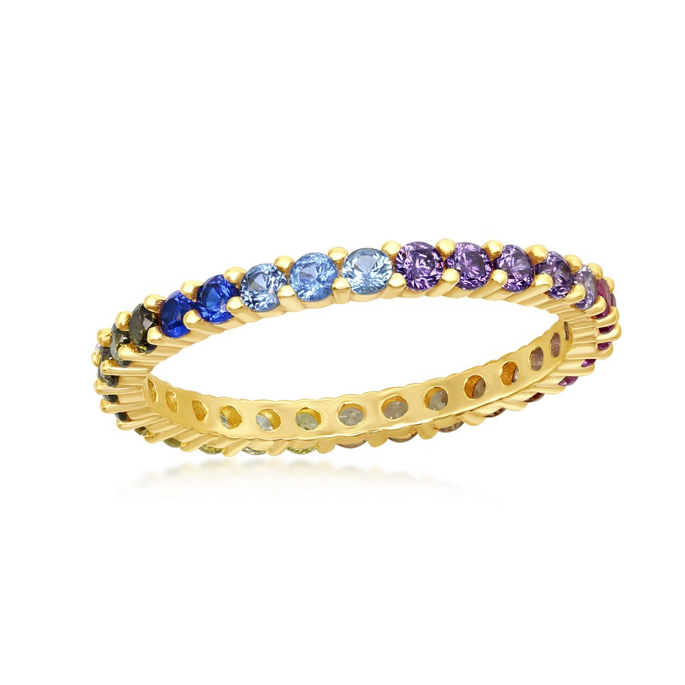 Sterling Silver Gold Plated Rainbow CZ 2mm Eternity Band Ring