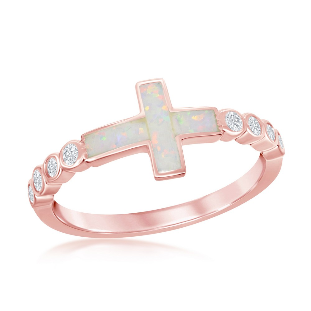 Sterling Silver White Inlay Opal Sideways Cross Half CZ Band Ring - Rose Gold Plated