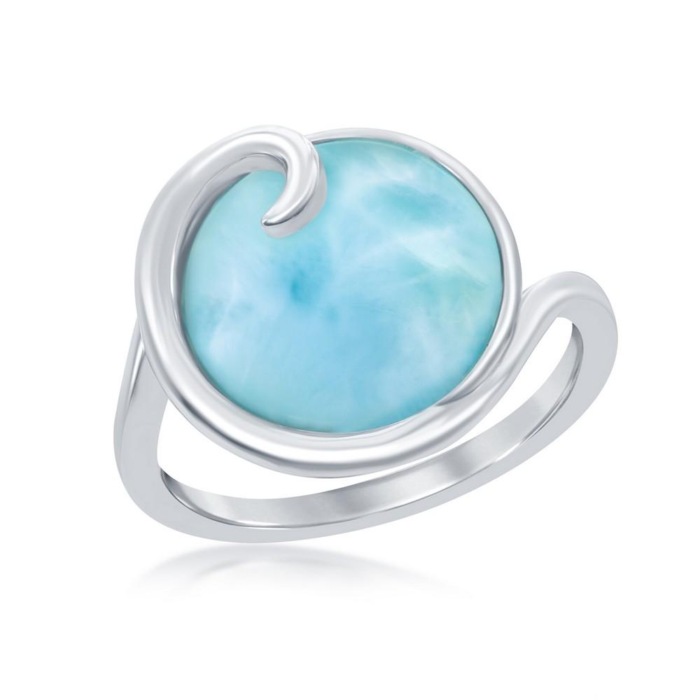 Sterling Silver Wave Design Larimar Ring