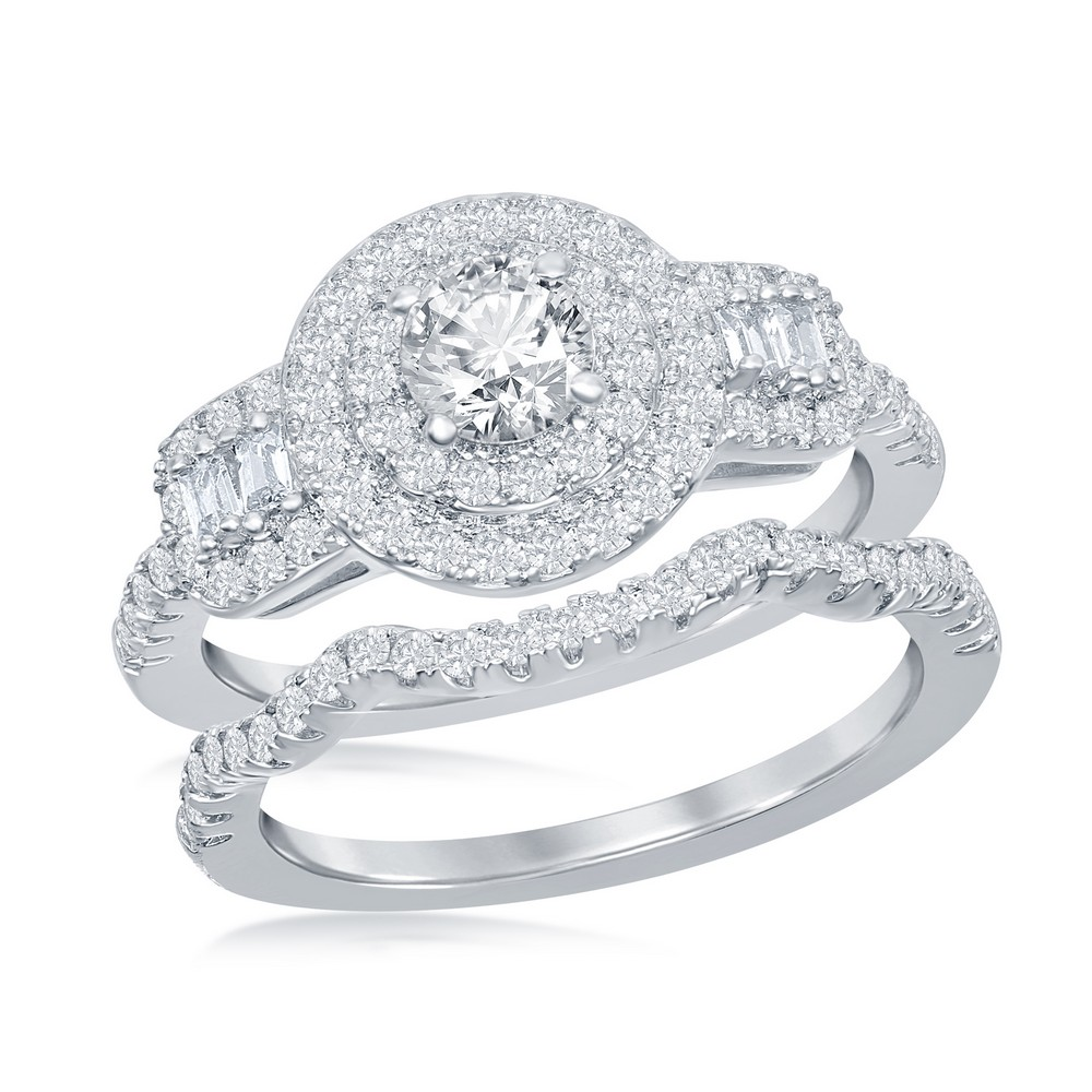 Sterling Silver Round Double Halo Baguette CZ Side Stones Engagement Ring Set