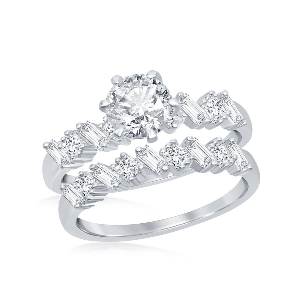 Sterling Silver Six-Prong Multi-Shaped Half Band Baguette CZ Engagement Ring Set
