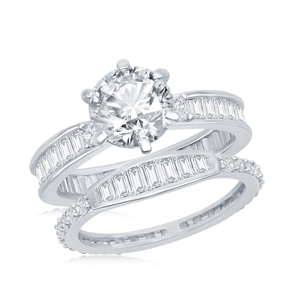 Sterling Silver Six-Prong Baguette CZ Band Engagement Ring Set