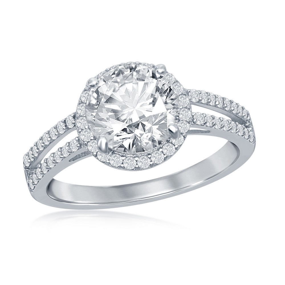 Sterling Silver Round Halo CZ Double Open Band Engagement Ring