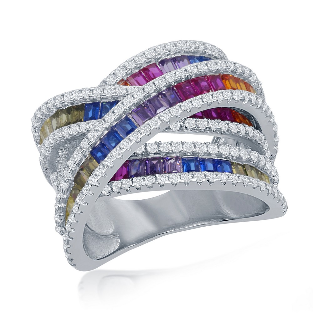 Sterling Silver Rainbow Baguette CZ Double 'X' Ring