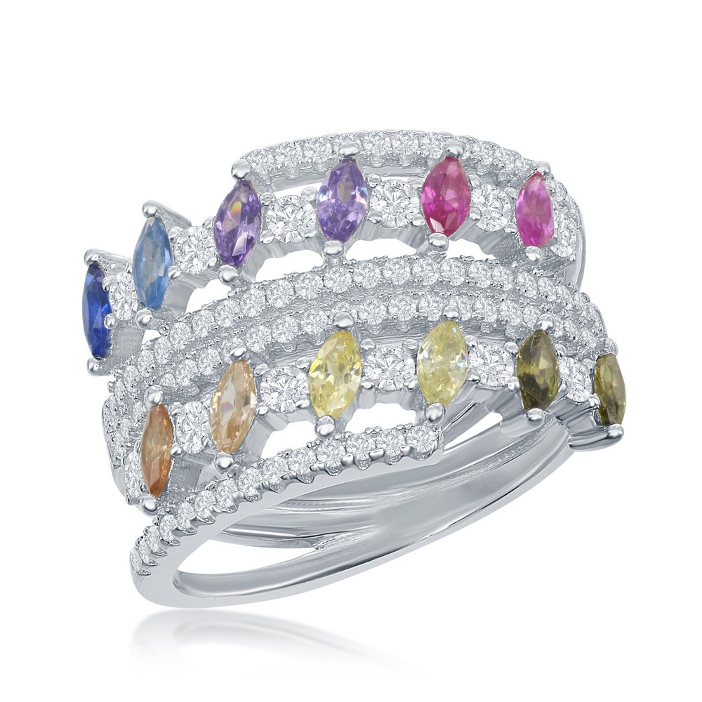 Sterling Silver Multi-Color Marquise CZ Double Ring