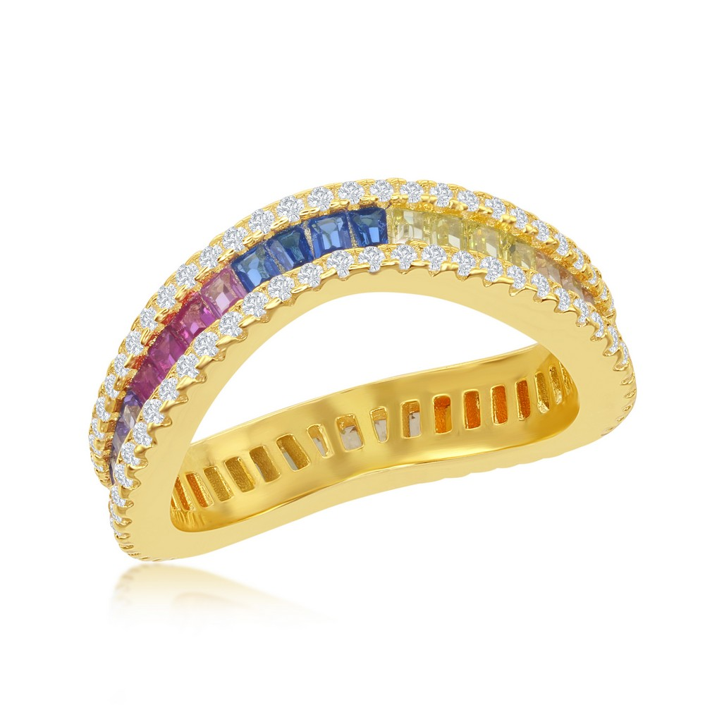 Sterling Silver Rainbow Baguette CZ with Clear CZ Border Wavy Ring - Gold Plated