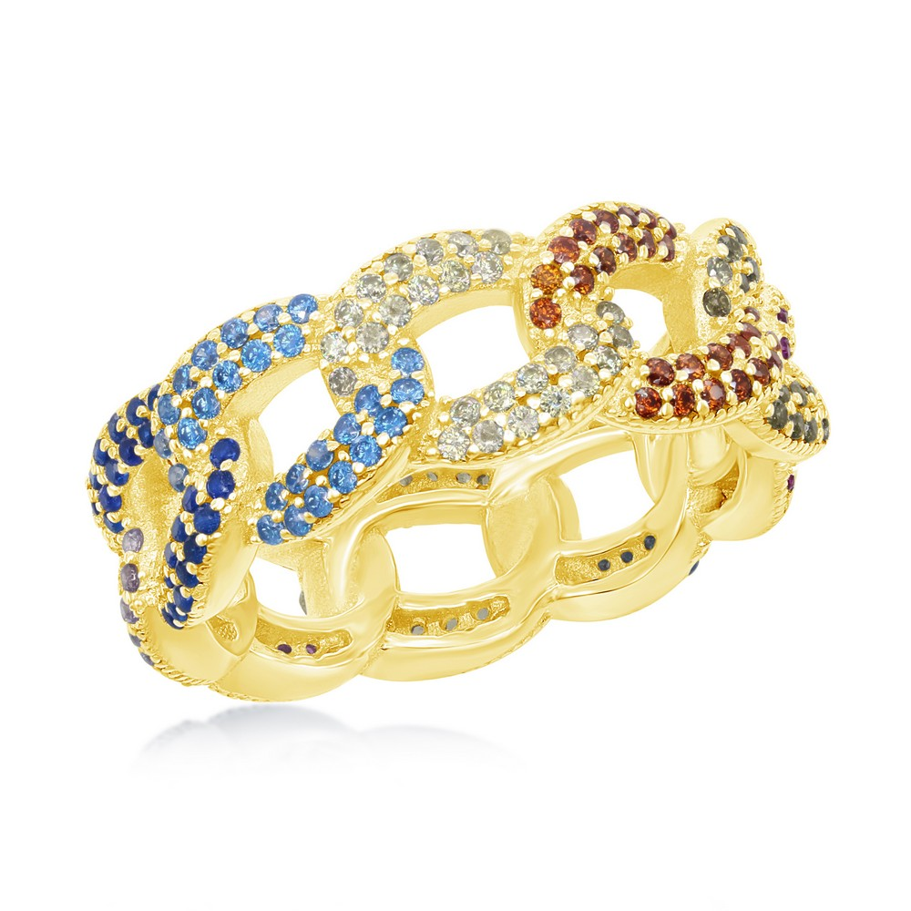 Sterling Silver Multi-Color CZ Essential Cuban Link Ring - Gold Plated