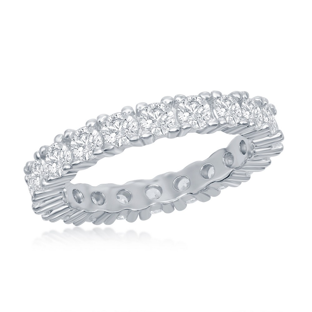 Sterling Silver 3mm CZ Eternity Band Ring