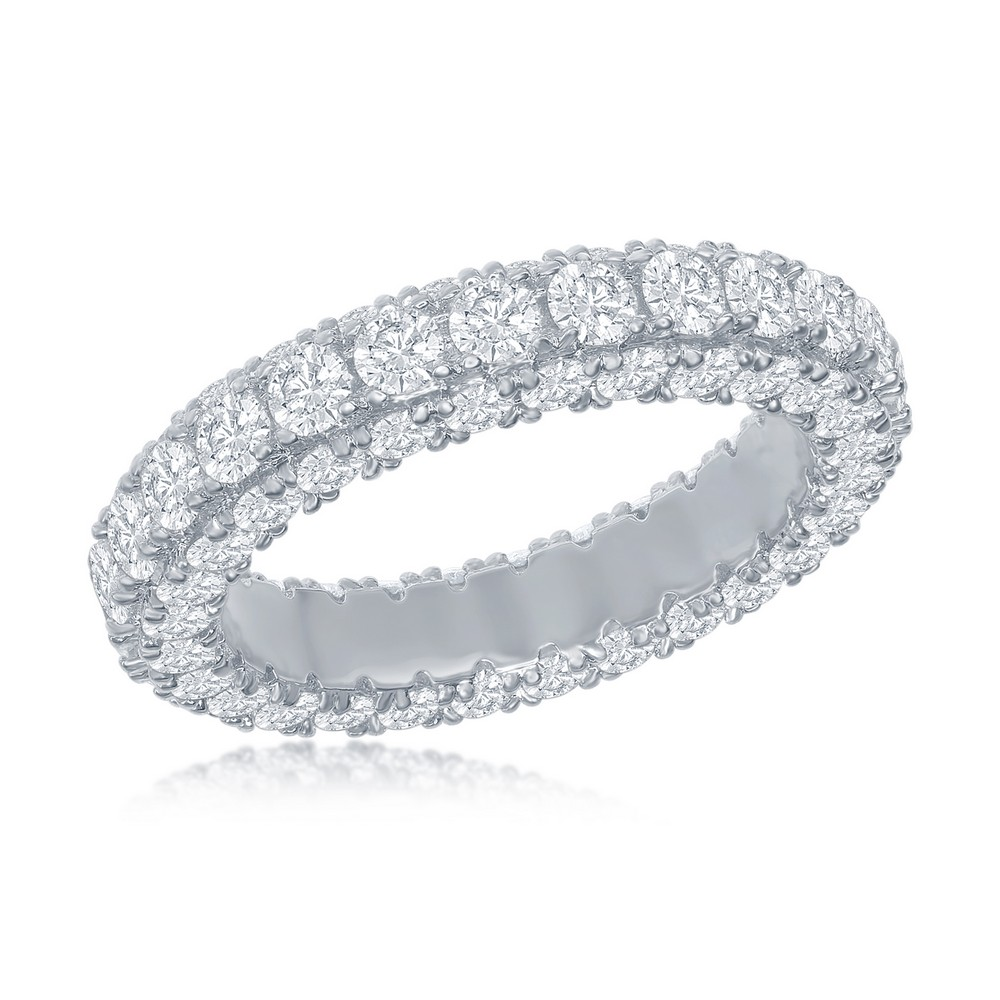 Sterling Silver, All around, Triple Row CZ, Eternity Band