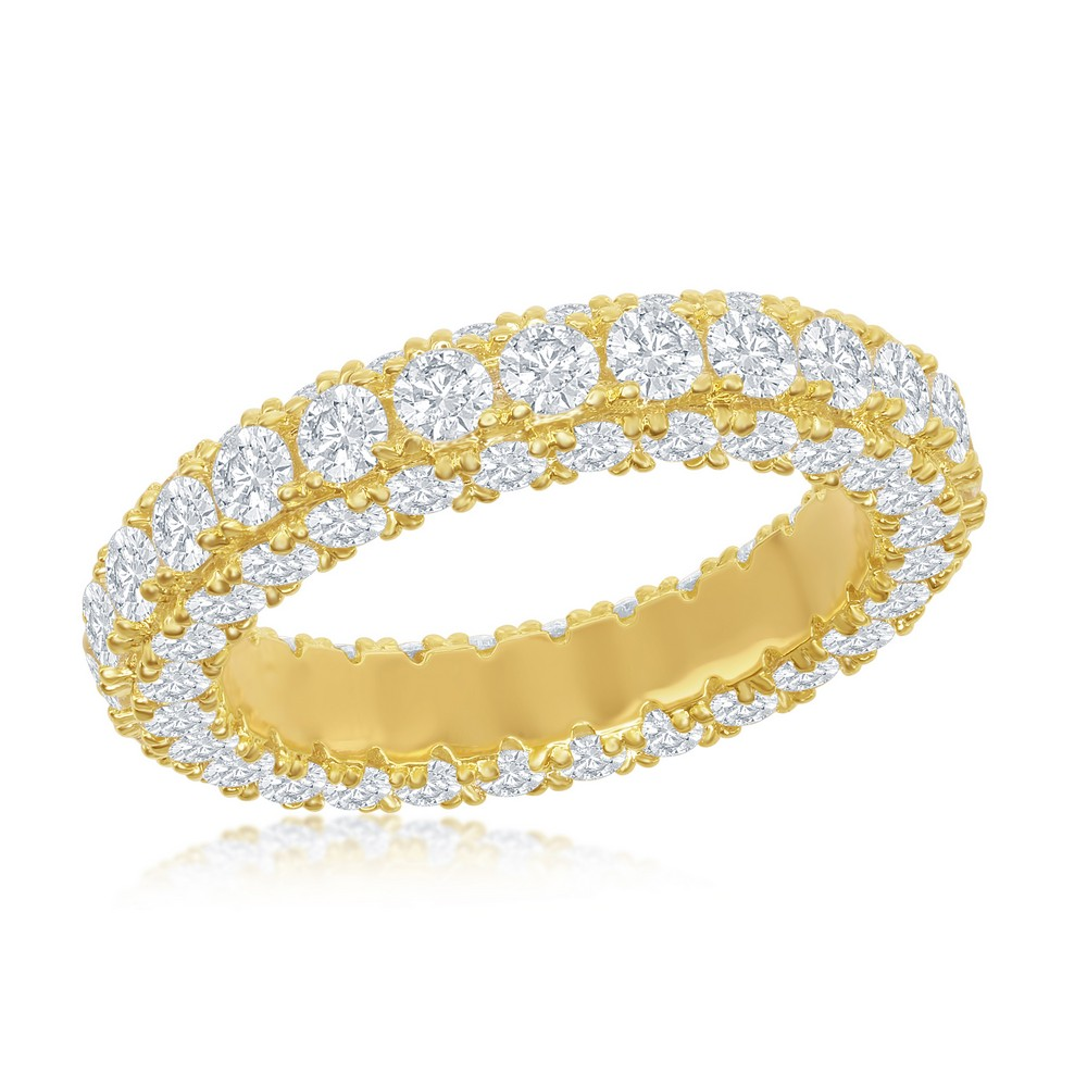 Sterling Silver, All around, Triple Row CZ, Eternity Band - Gold Plated