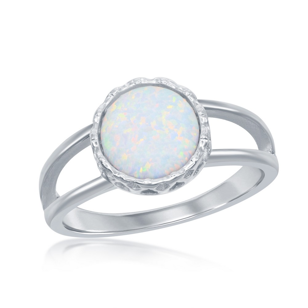 Sterling Silver  Round White Inlay Opal Open Band Ring