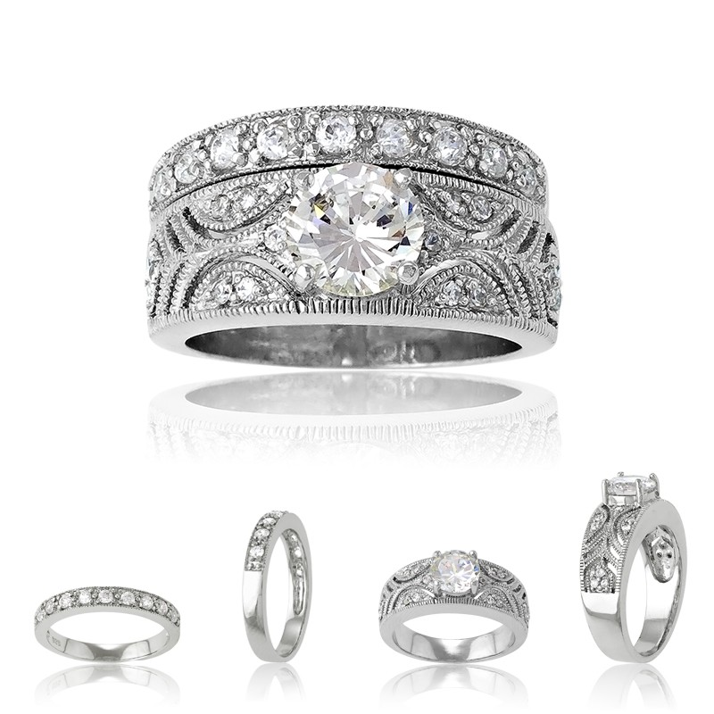 Sterling Silver Designed Clear CZ Ring With  Center Round Clear CZ & Clear CZ Wedding Band