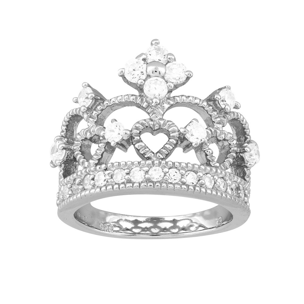 Sterling Silver Crown Shaped CZ Ring