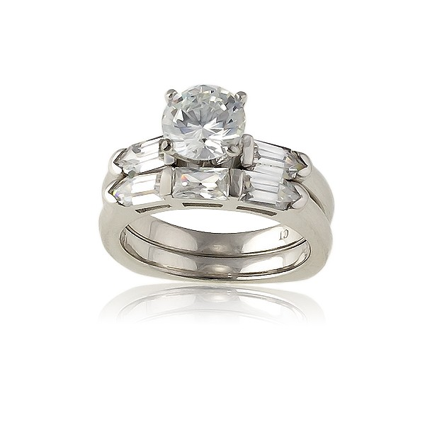 Sterling Silver Square, Double Band with CZ Oval Baguettes and Center CZ Wedding Ring