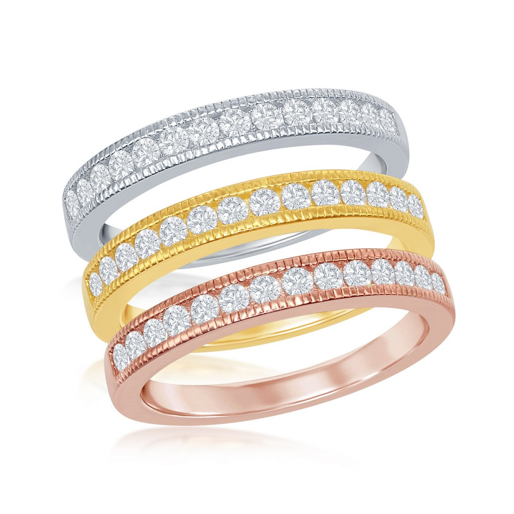 Sterling Silver 3-Band Silver, GP and RoseGP With  Clear CZ Ring