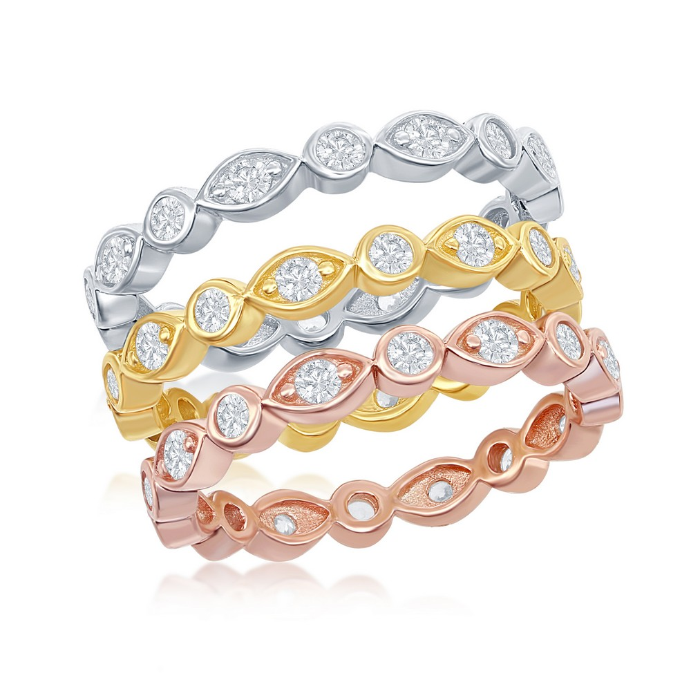 Sterling Silver Tri-Color, Marquise and Round CZ Eternity 3-Band Ring