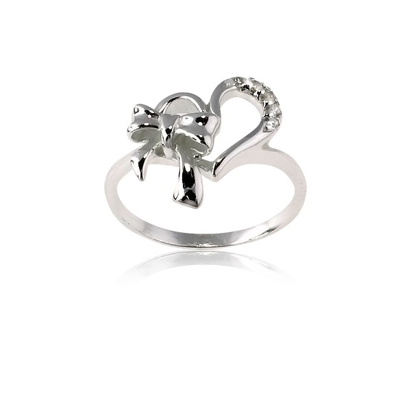 (SPECIAL ORD) Sterling Silver Heart With  CZ and Bow Ring