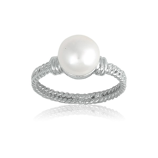 Sterling Silver Double Twisted Band With Pearl Ring