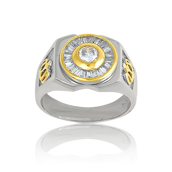Sterling Silver and GP Designs With  Center Circle CZ and Baguettes Mens Ring