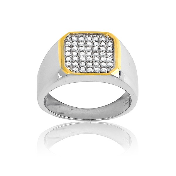 (SPECIAL ORD) Sterling Silver GP Square With  Inner CZs Mens Ring