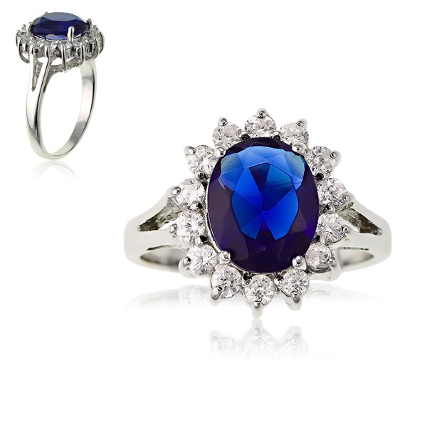 Sterling Silver Oval Blue Sapphire and Clear CZ Engagement Ring