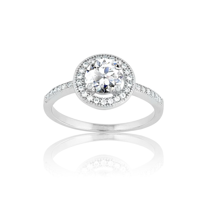 Sterling Silver Center Circle CZ and Micro Pave Ring (35 stones)