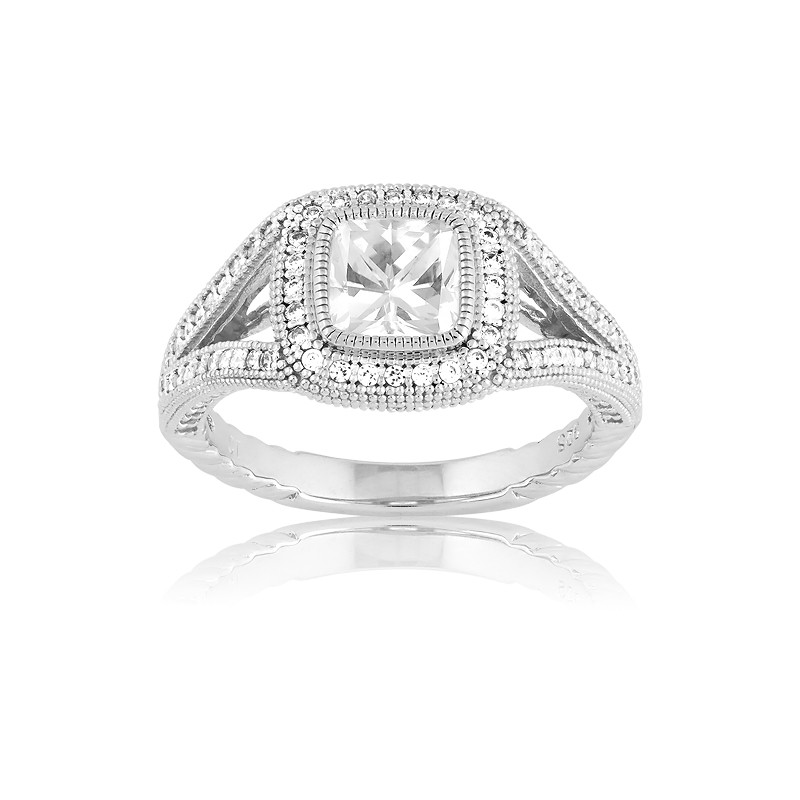Sterling Silver Center Square CZ and Micro Pave Ring (129 stones)