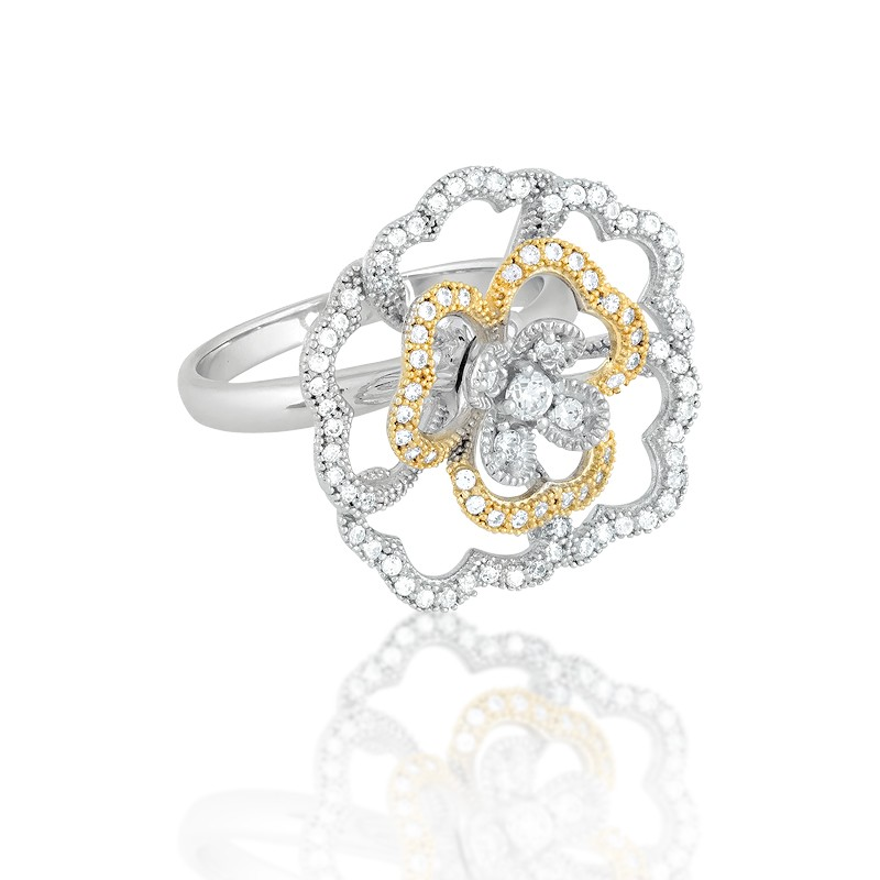 Sterling Silver Two-Tone CZ and Micro Pave Rose Ring (88 stones)