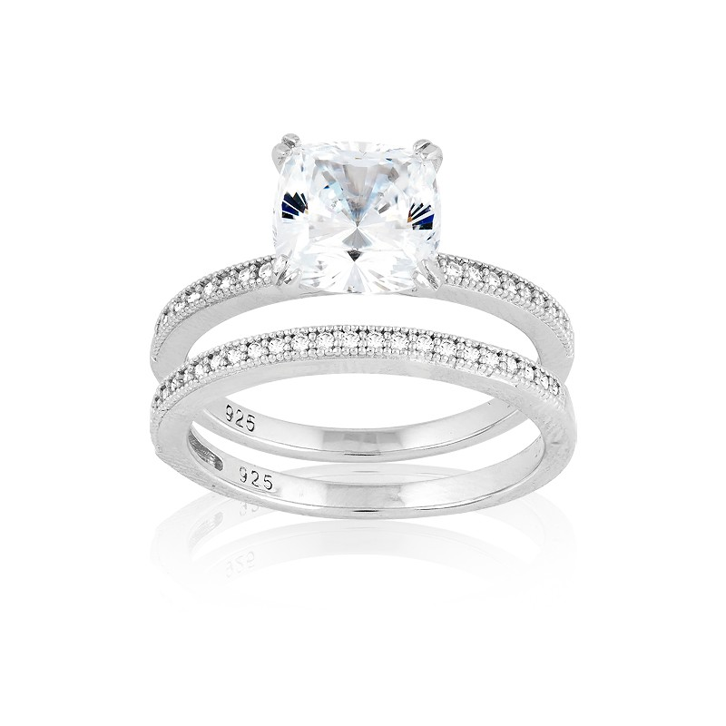 Sterling Silver Double-Band Large Center Square CZ and Micro Pave Ring (48 stones)