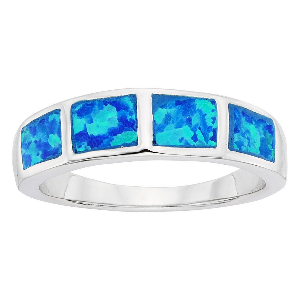 Sterling Silver Blue Inlay Opal Squares Ring
