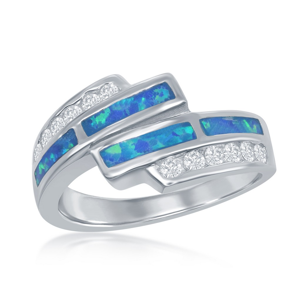 Sterling Silver Blue Inlay Opal and CZ Overlapping Ring