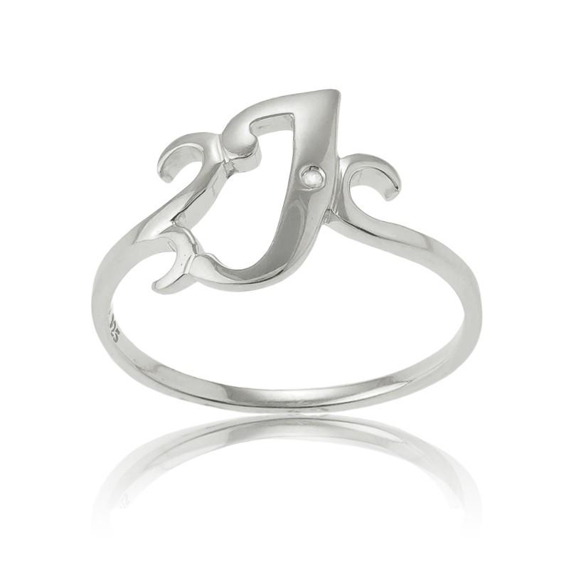 Sterling Silver Single CZ J Ring