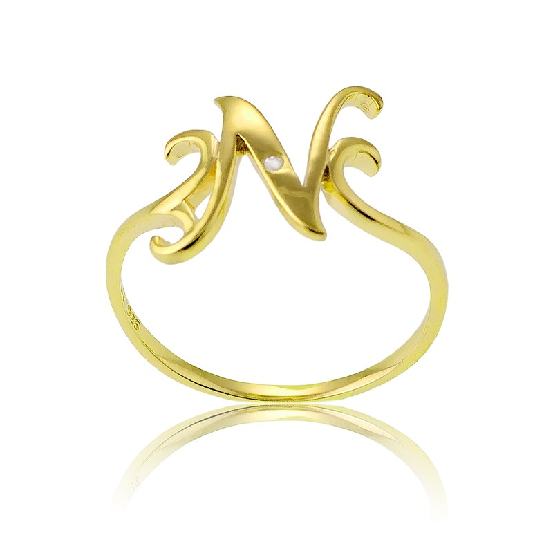 Sterling Silver 1 Micron Gold-plating Single CZ N Ring