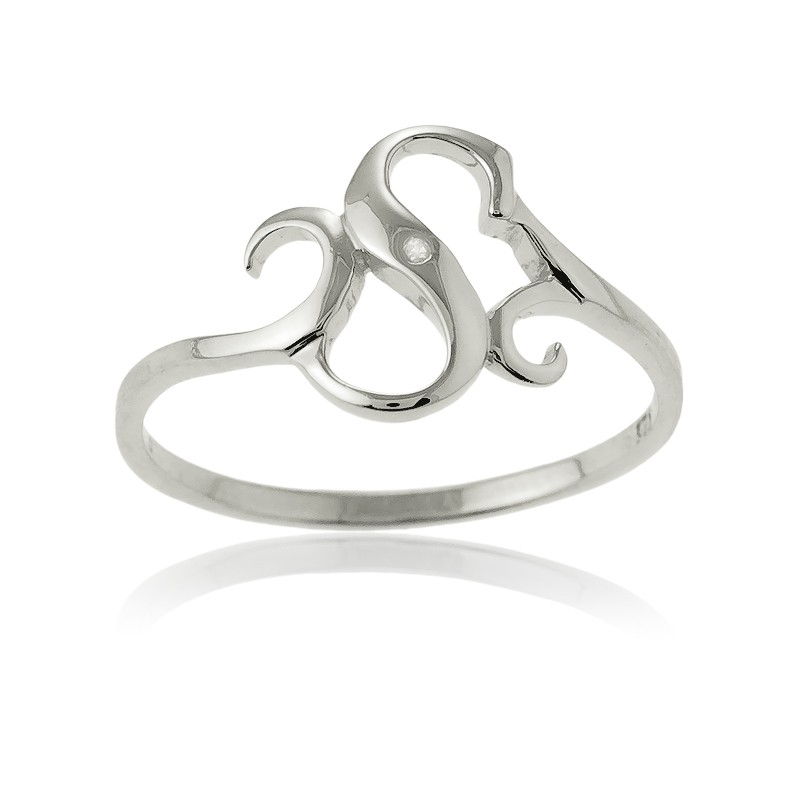 Sterling Silver Single CZ S Ring