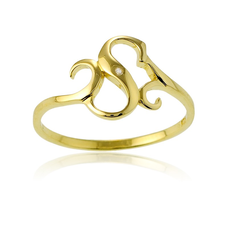 Sterling Silver 1 Micron Gold-plating Single CZ S Ring