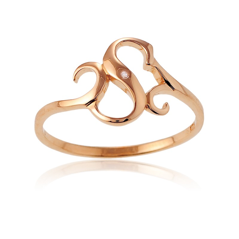 Sterling Silver 1 Micron Rose Gold-plating Single CZ S Ring