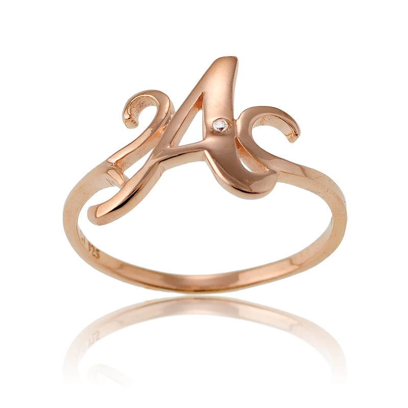 Sterling Silver 1 Micron Rose Gold-plating Single CZ A Ring