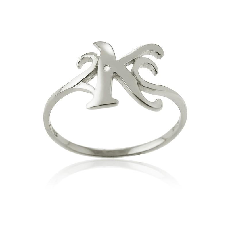 Sterling Silver Single CZ K Ring
