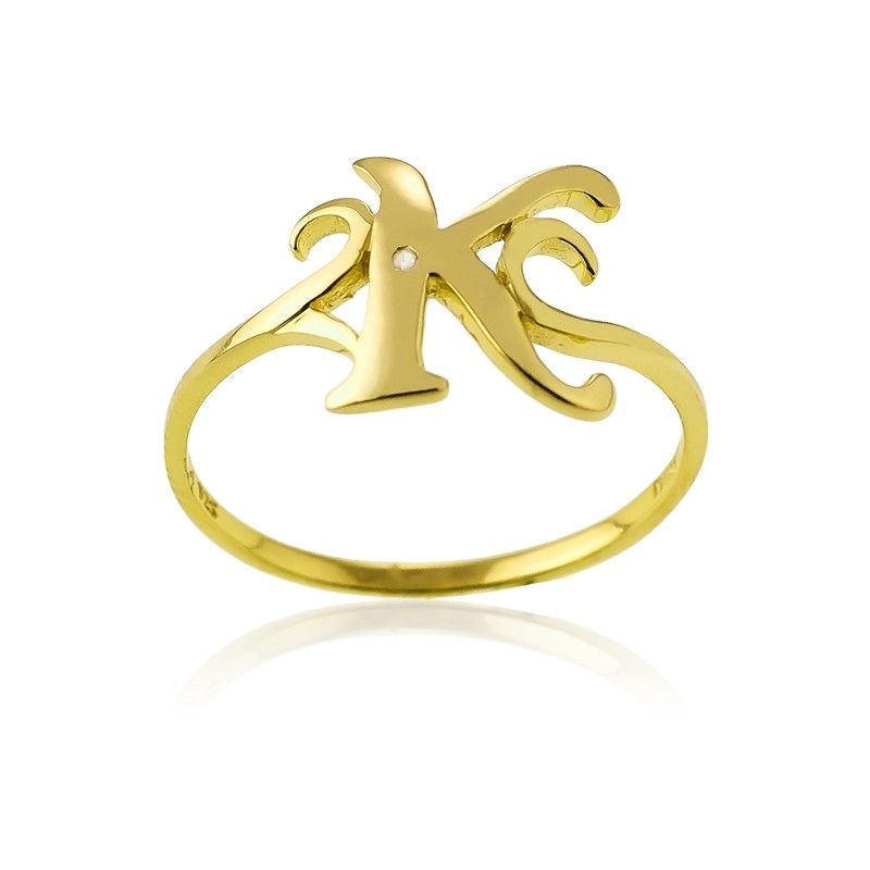 Sterling Silver 1 Micron Gold-plating Single CZ K Ring