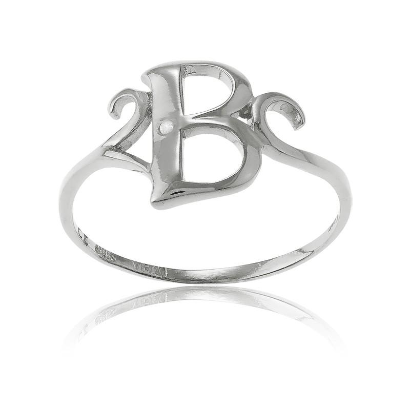 Sterling Silver Single CZ B Ring