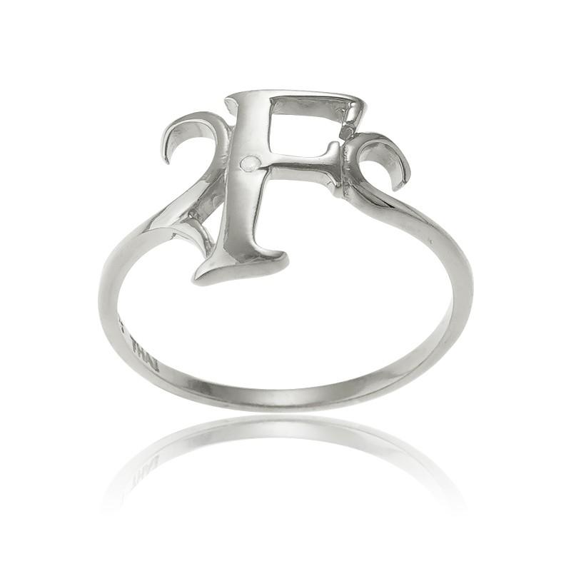 Sterling Silver Single CZ F Ring
