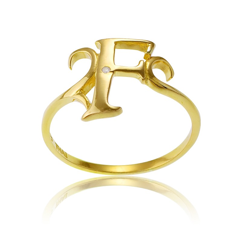 Sterling Silver 1 Micron Gold-plating Single CZ F Ring