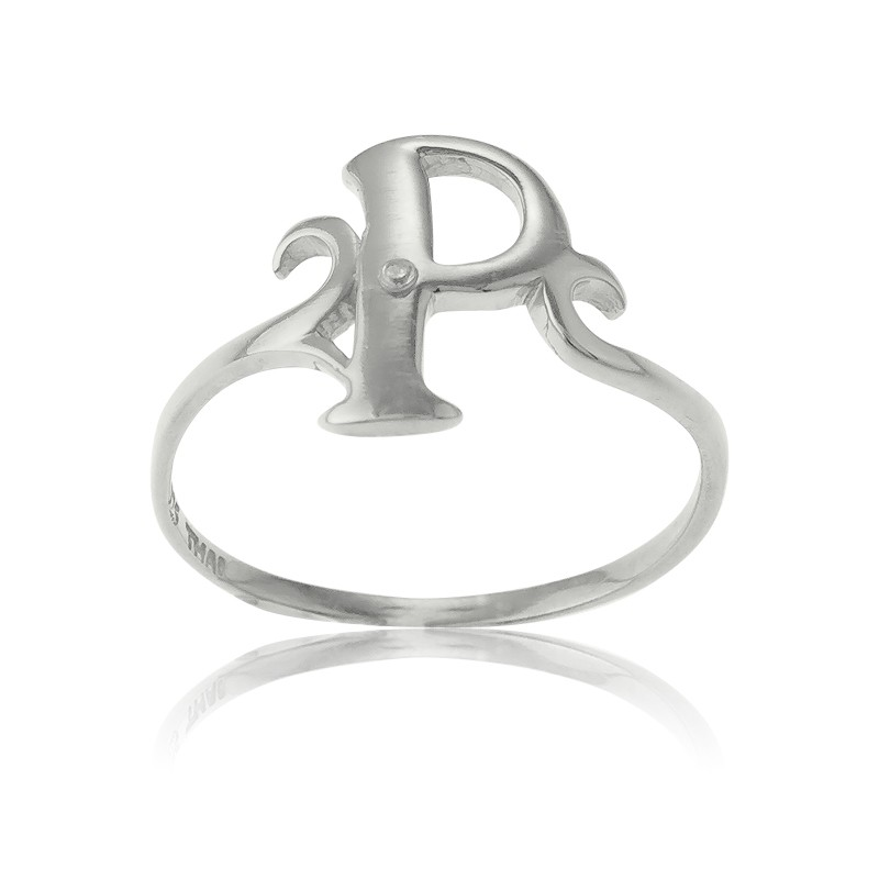 Sterling Silver Single CZ P Ring