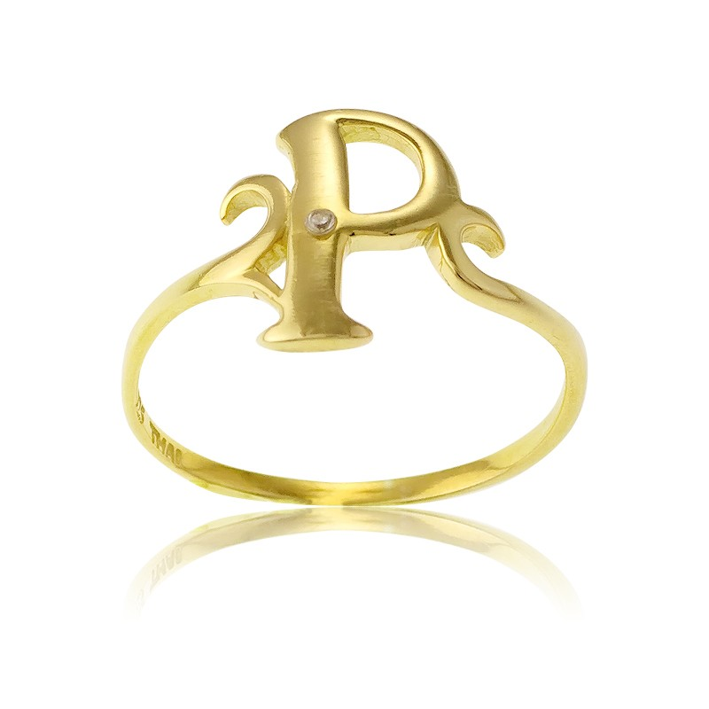 Sterling Silver 1 Micron Gold-plating Single CZ P Ring